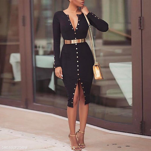 Deep V Neck Long Sleeve Button Sexy Bodycon Dress