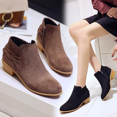 Solid Color Ankle Boots