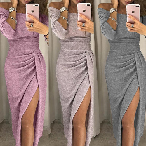 Sexy Off Shoulder Pleated Plain Bodycon Dress