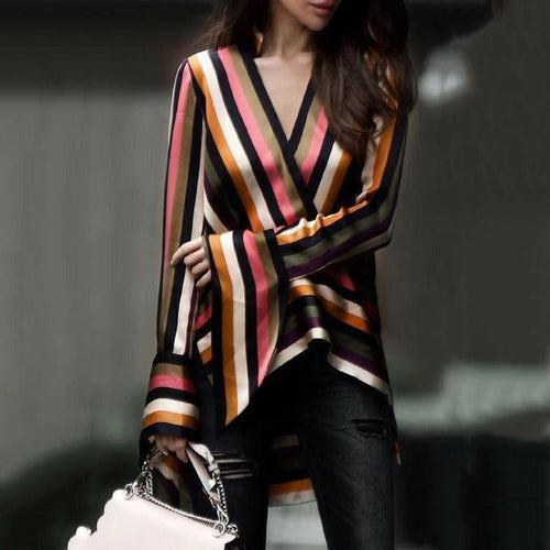 Fashion Business Slim Strip V Collar Long Sleeve Blouse