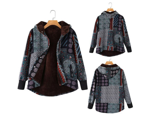 Fashion New Style Ethnic Thick Fleece Hooded Coat