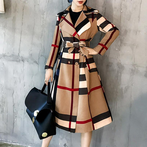 Women Long Slim Belted Coat Patchwork Outwear