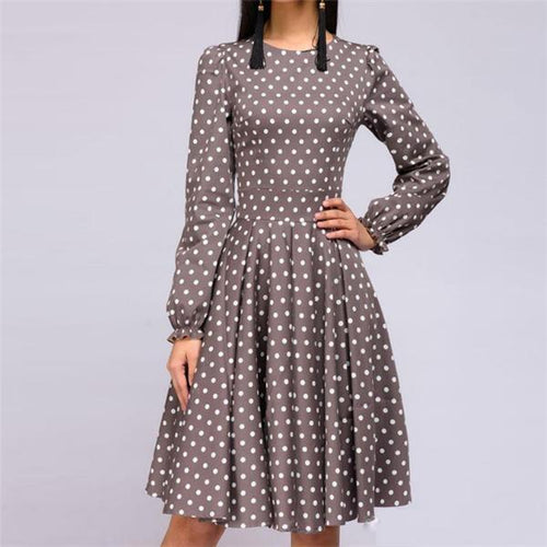 Sweet Round Collar Dot Printed Defined Waist Skater Dress