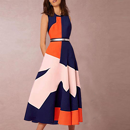 Elegant Fashion Round Collar Sleeveless Color Block Slim Skater Dress