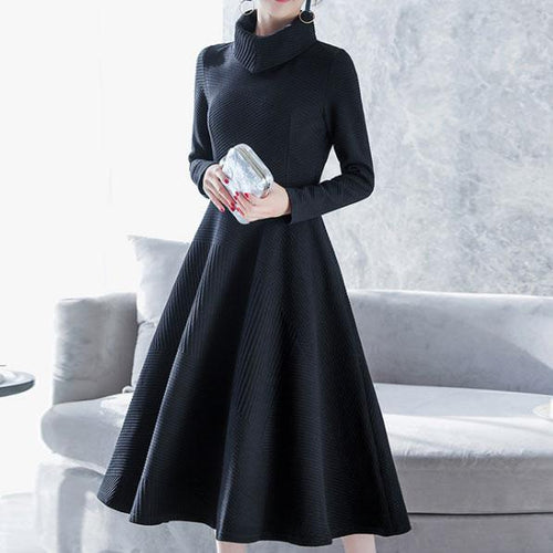 Fashion High Collar Plain Thicken Knit Shift Dress