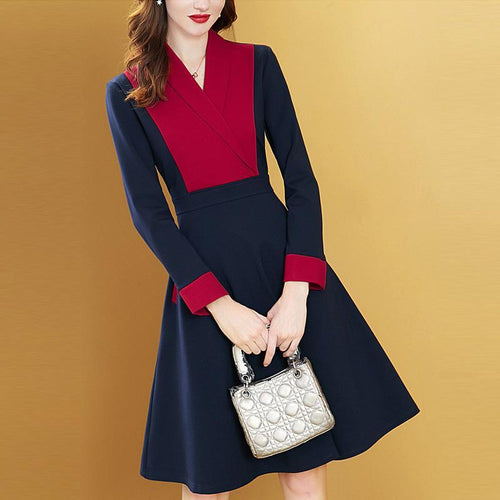 Fashion V Collar Split Joint Color Blocking Skater Dress