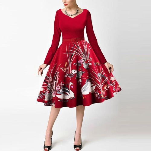 V-Neck Printed Elegant Christmas Skater Dress