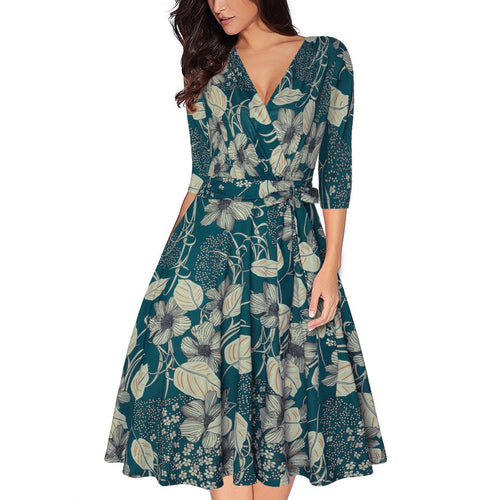 Sexy Deep V Collar Floral Printed Defined Waist Skater Dress