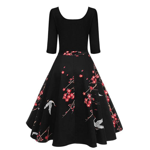 Square Collar Patchwork Printed Floral Skater Dress
