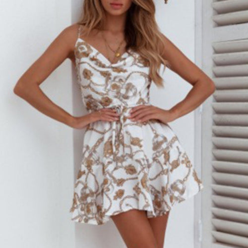 Sexy Spaghetti Strap Floral Printed Tie Waist Mini Dress