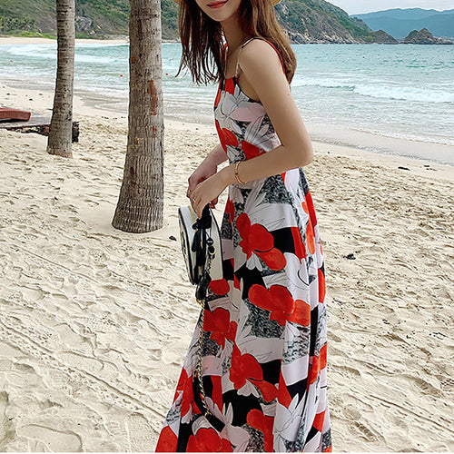 Fashion Sling Backless Beach Vacation Floral Dress
