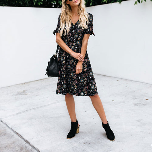 2019 V Collar Floral Printed Beach Vaction Dress