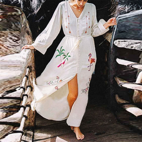 Chic V Collar Embroidery Button Slit Beach Vacation Dress