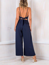 Load image into Gallery viewer, Sexy Bare Back V Neck Bow Sling Broad Leg Jumpsuits