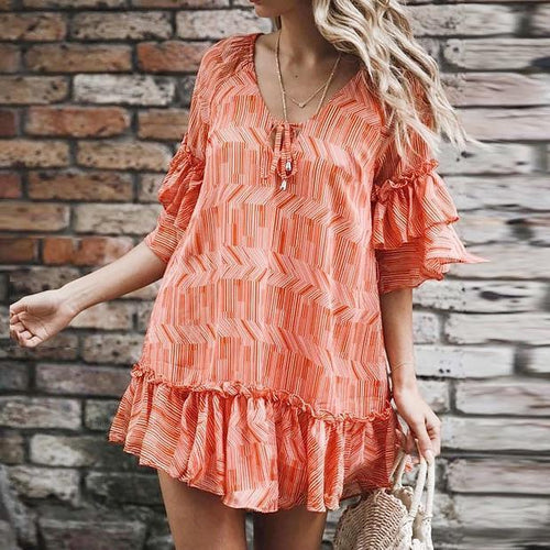 Ruffled Stitching Printed Chiffon Mini Dress
