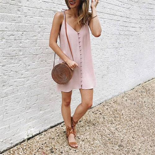 Sexy Deep V Collar Plain Slin Button Embellished Vacation Dress