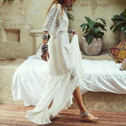 Cotton Lace V-Neck Lace Loose Beach Holiday Blouse Beach Dress