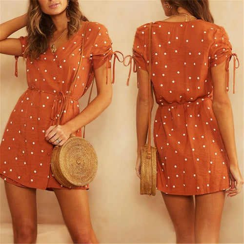Fashion V Collar Polka Dot Printed Defined Waist Mini Dress