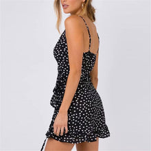Load image into Gallery viewer, Deep V Collar Polka Dot Printed Belted Ruffled Vacation Dress