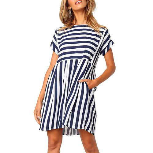 Casual Loose Short   Sleeve Strips Mini Dresses