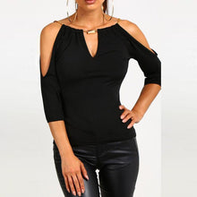 Load image into Gallery viewer, Open Shoulder V Neck  Hollow Out Plain T-Shirts