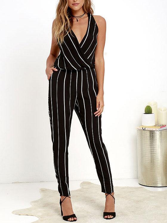 Sexy Deep Collar Backless Packet Striped Jumpsuit