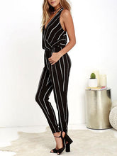 Load image into Gallery viewer, Sexy Deep Collar Backless Packet Striped Jumpsuit