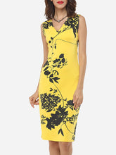 Load image into Gallery viewer, Charming Printed V Neck Bodycon Dress