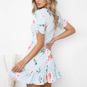 Summer Floral V-Neck Ruffle Vacation Mini Dress