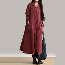 Load image into Gallery viewer, Women Vintage Frog Button Long Sleeve Hooded Long Maxi Dress