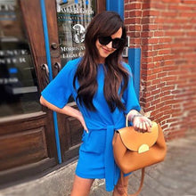 Load image into Gallery viewer, Elegant Blue Bandage Casual Dress