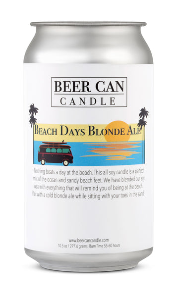 100 % Soy Beer Can Candle - Beach Days Blonde Ale