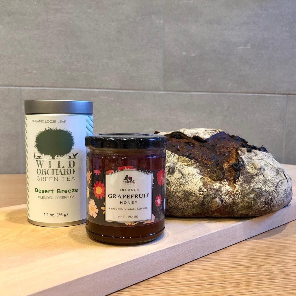Thanksgiving Honey & Tea Gift Set with Cranberry Sourdough