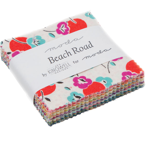 "Beach Road Mini 2.5"" Charm Pack contains 42 2.5"" fabric squares"