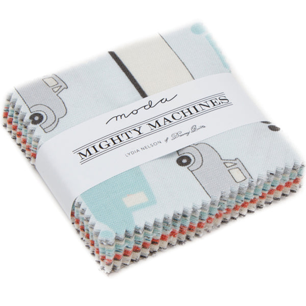 "Mighty Machines Mini 2.5"" Charm Pack contains 42 2.5"" fabric squares"