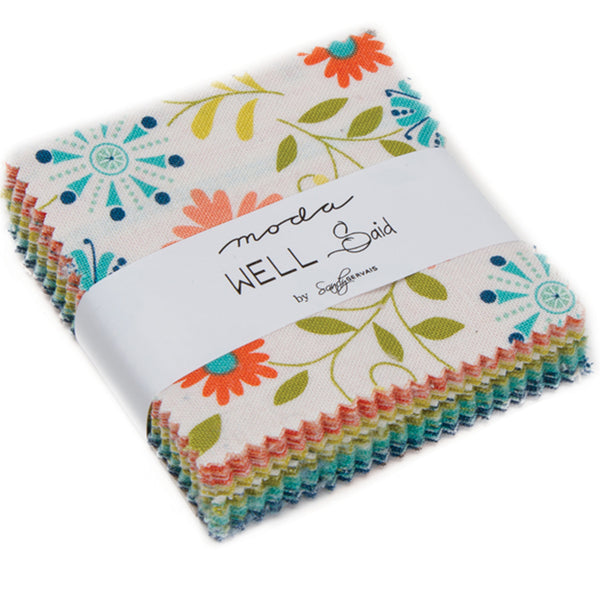 "Well Said Mini 2.5"" Charm Pack contains 42 2.5"" fabric squares"
