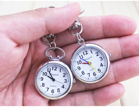 Large Face Nurses Pocket Fob Watch on a Bar with a keychain