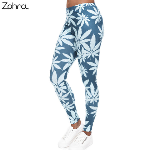 Zohra Fashion Mint Weed Printing Fitness Leggings