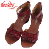 Xiuteng New Summer Thick high heels Leather Sandals