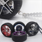 Luxury Racing Car Tires Leather Wheel Keychain