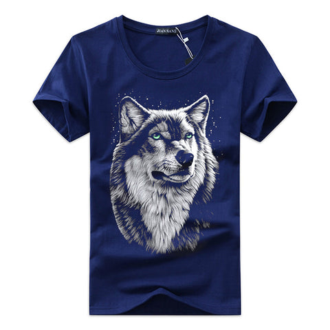 High Quality Cotton 3d Wolf T-shirt For Men