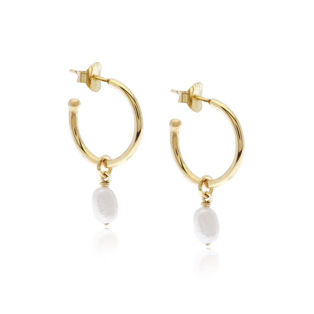 Margot Pearl Hoops Gold