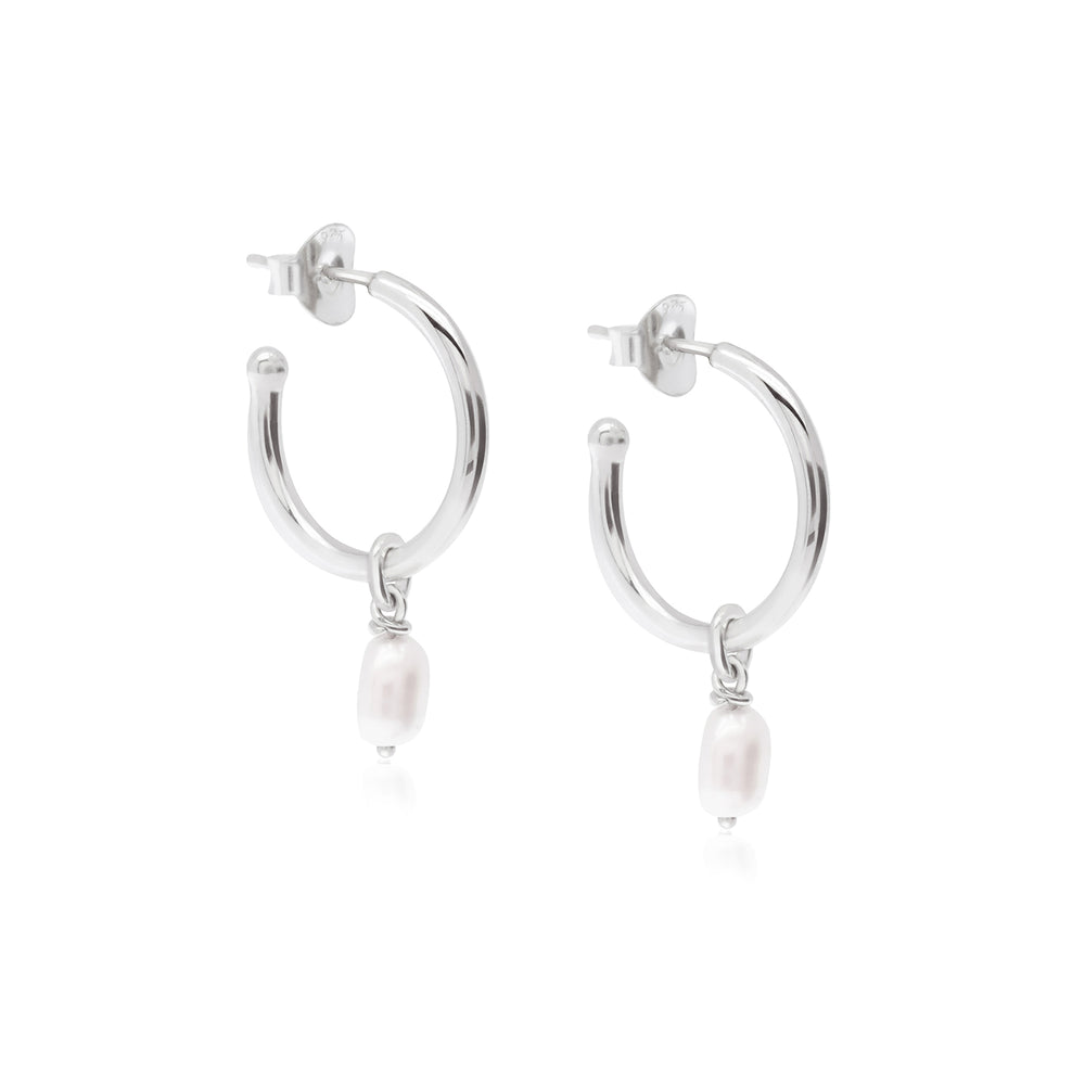 Margot Pearl Hoops Silver