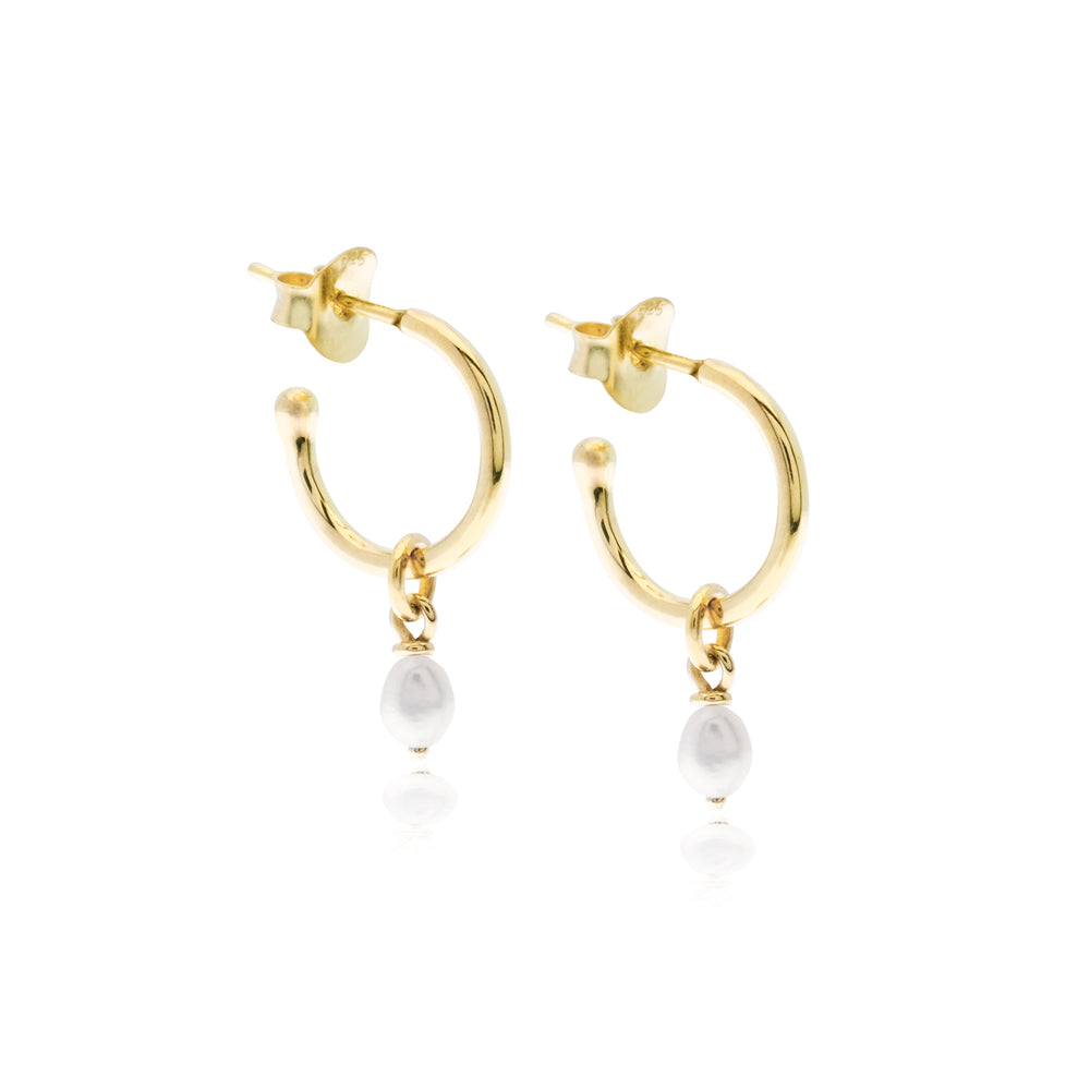 Mini Margot Pearl Hoops Gold