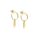 Isla Rectangle Charm Hoops Gold