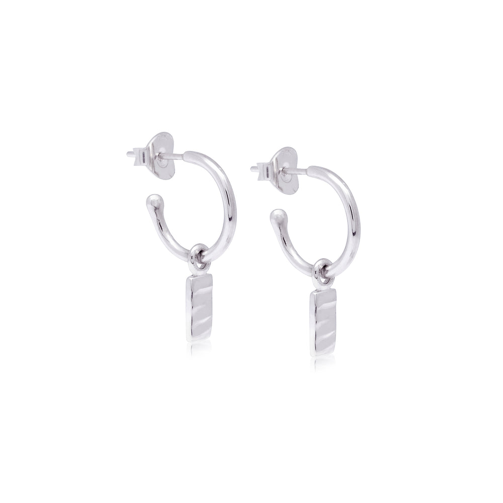 Isla Rectangle Charm Hoops Silver