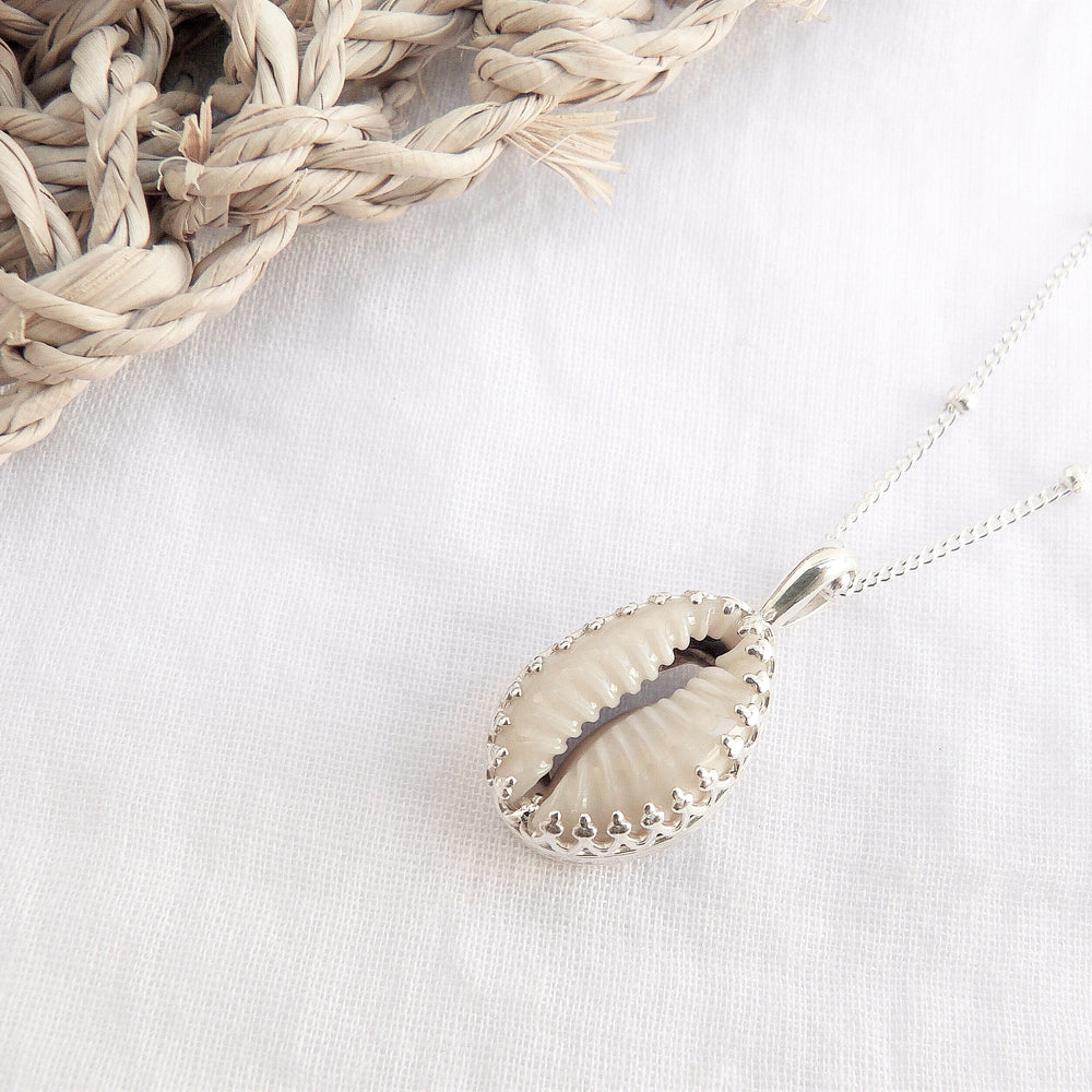 Pandawa Cowrie Shell Necklace Silver - Caja Jewellery