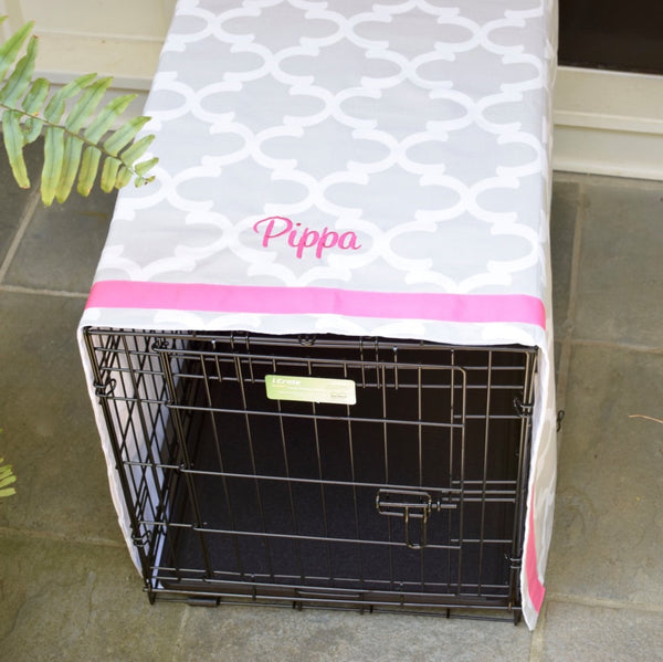 Boho Chic Crate Cover with Your Dogs Name