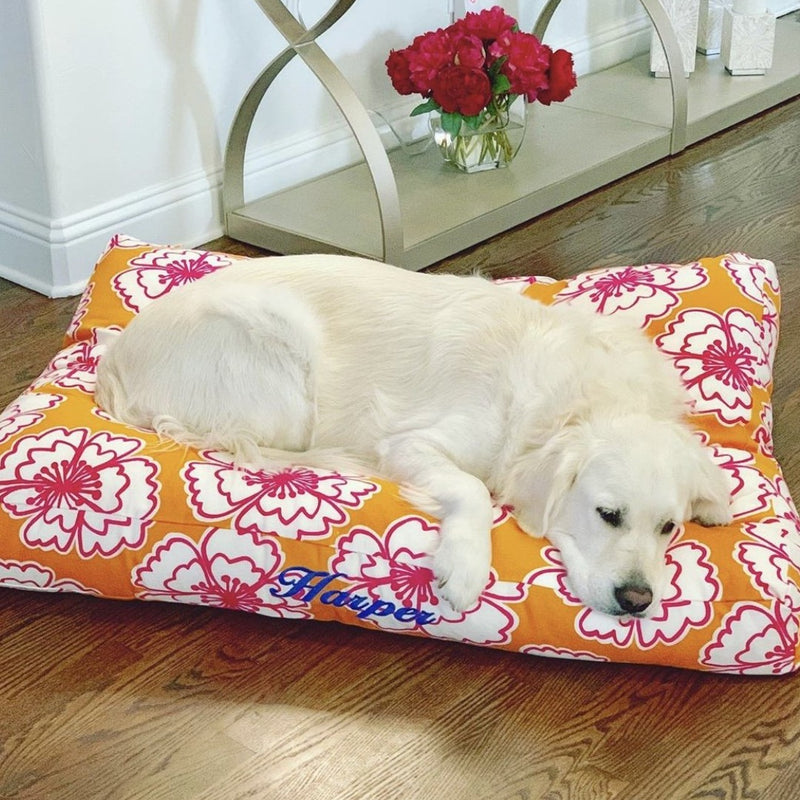 personalized large washable canvas dog bed from Three Spoiled Dogs
