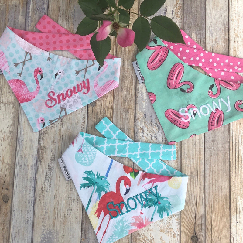 Flamingo Bandanas with Your Dogs Name